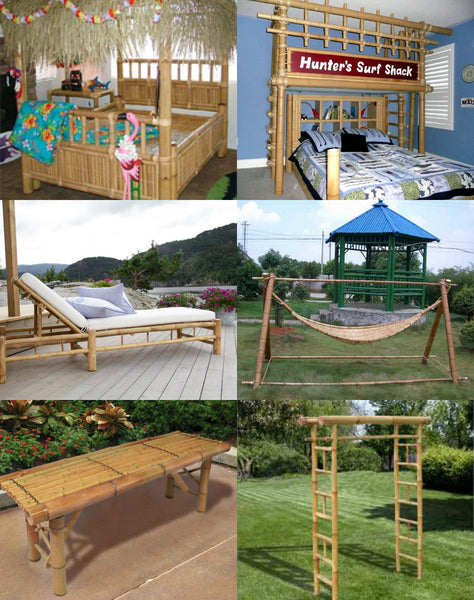 Bamboo bed frame headboard lounger bench arbour