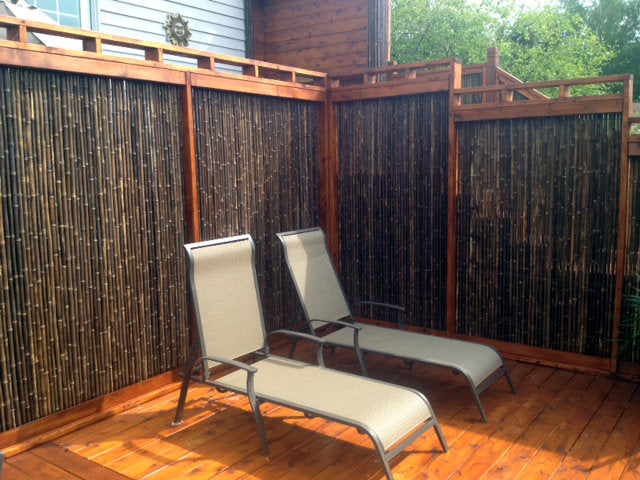 "1"" 6' x 8' Black Bamboo Fence roll"