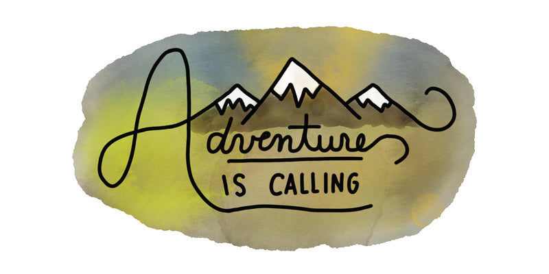 adventure is calling hand letter doodle