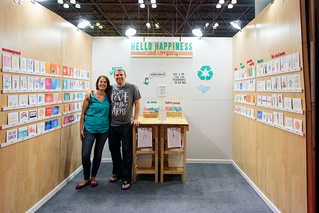 hello happiness card co booth at the national stationery show in new york.