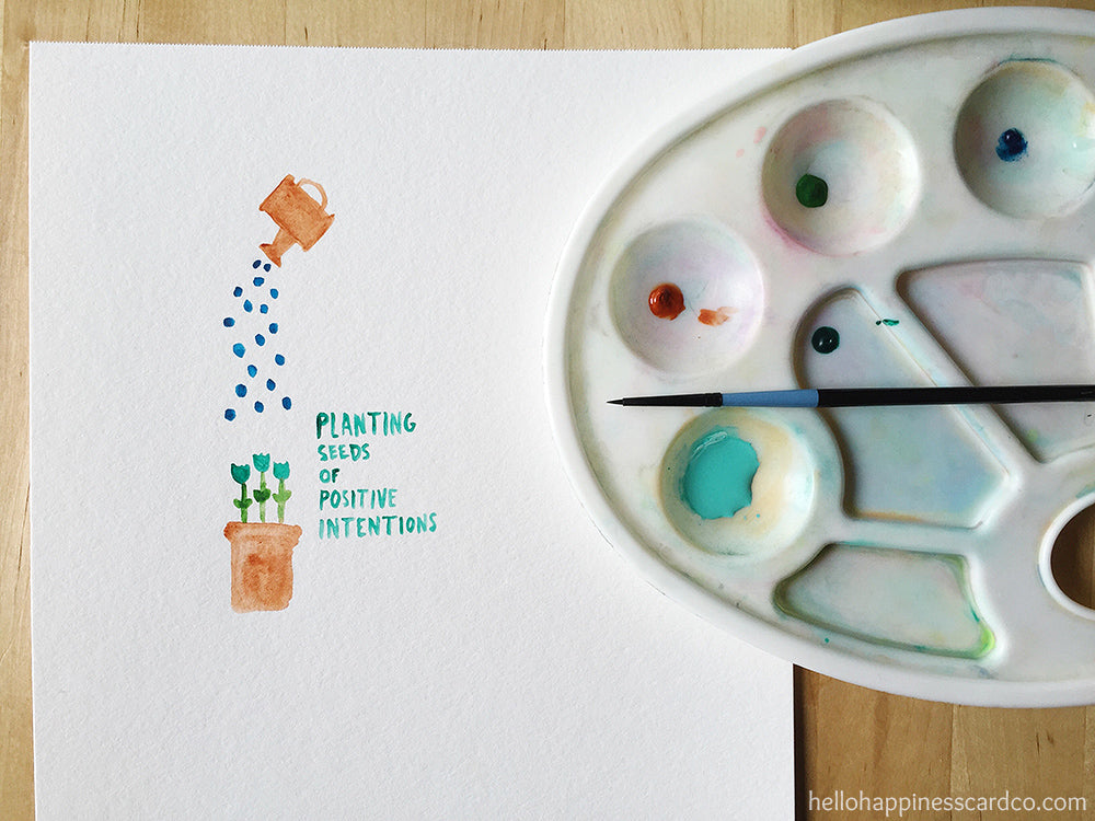 planting seeds of positive intentions watercolor