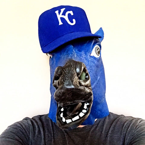 royals fan horse head mask selfie
