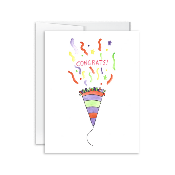 watercolor congrats confetti popper card