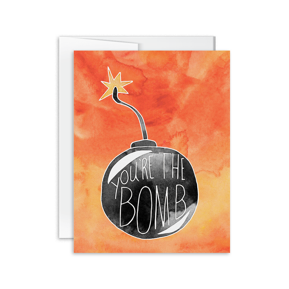 you're the bomb watercolor hand lettered greeting card
