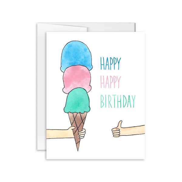 Happy Happy Birthday Ice Cream Card [product type] - Hello Happiness Card Co