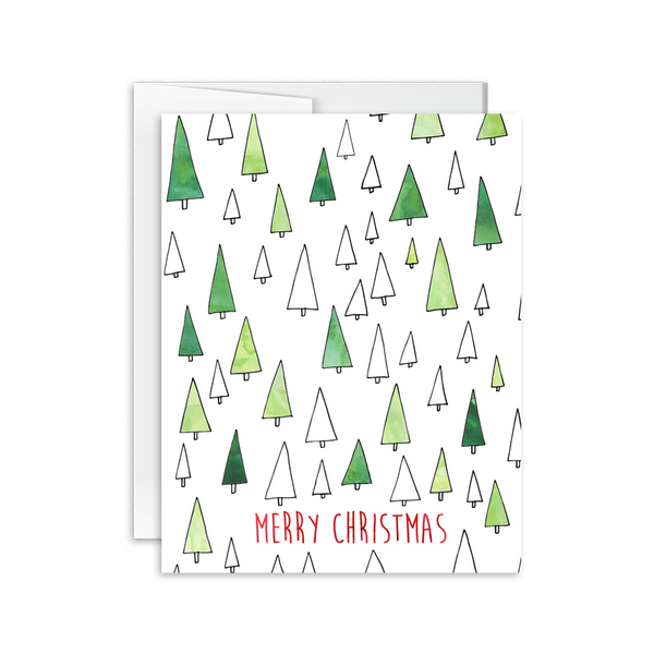 merry christmas hand drawn tree holiday card