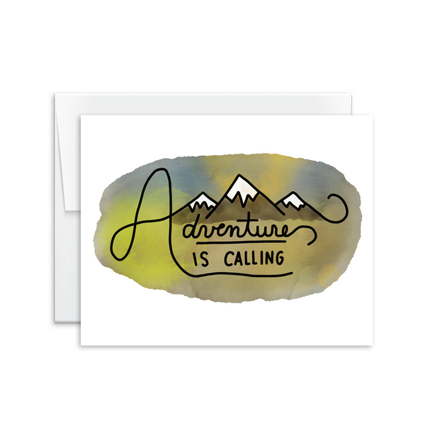 hand lettered adventure is calling greeting card