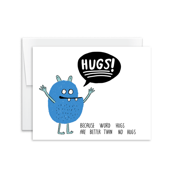 word hugs monster hand drawn encouragement card