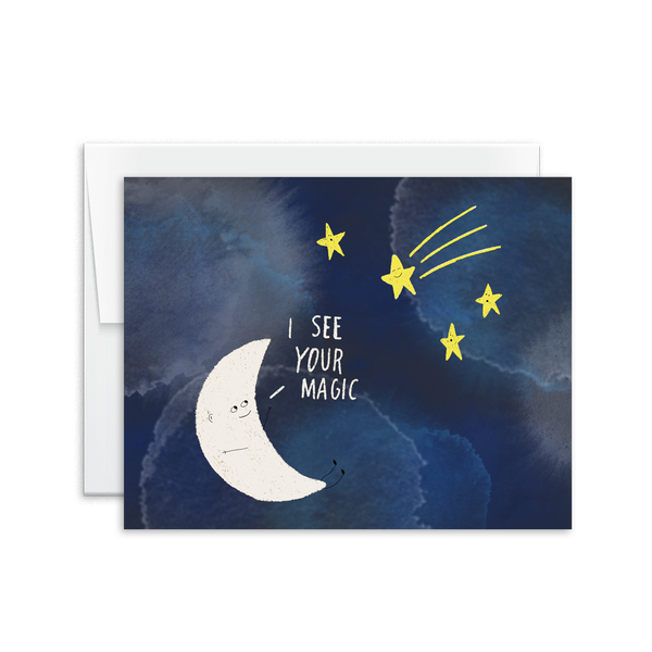 i see your magic moon and stars hand drawn greeting card