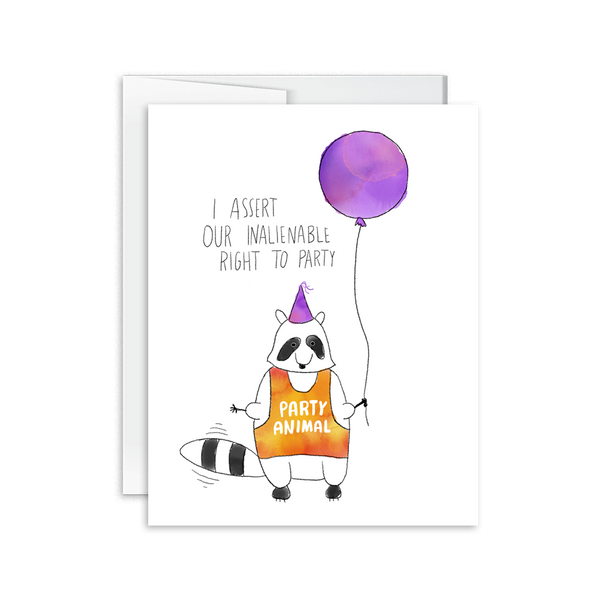 i assert our inalienable right to party watercolor raccoon birthday card