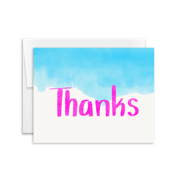 hand lettered watercolor thank you card