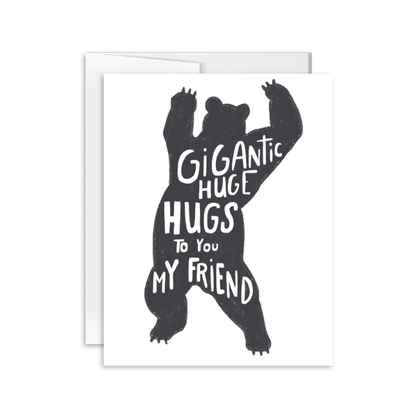 Bear Hugs hand drawn and lettered greeting card