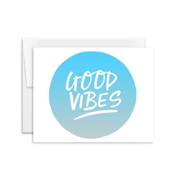 good vibes hand lettered greeting card