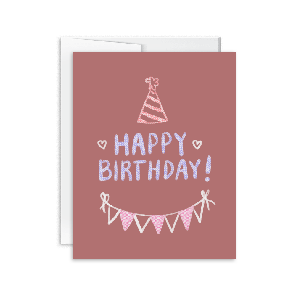 happy birthday chalk lettering greeting card