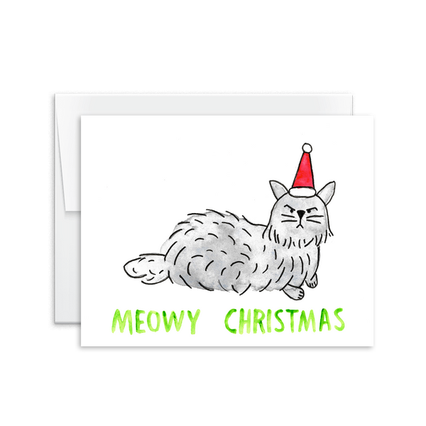 meowy christmas watercolor grumpy cat holiday card