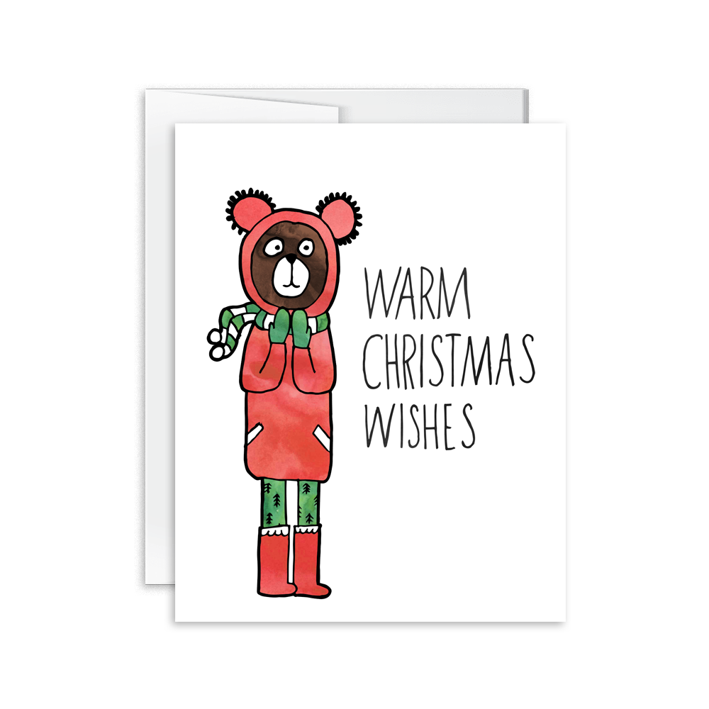 warm christmas wishes hand drawn watercolor bear holiday card