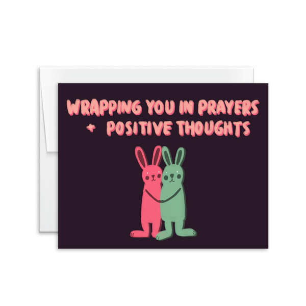 hand lettered prayers and positive thought bunnies card