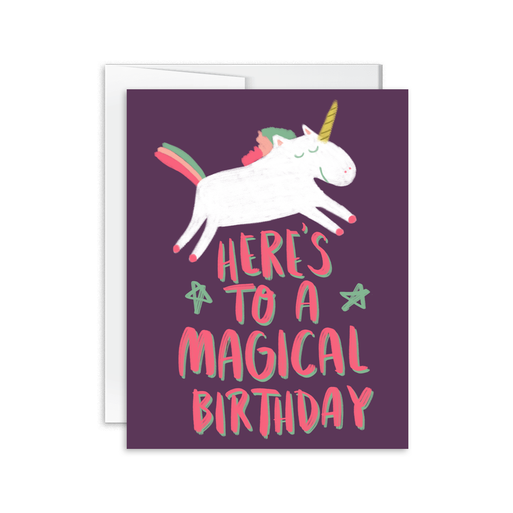 hand drawn and lettered magical unicorn birthday card