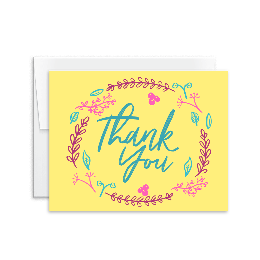 hand lettered floral thank you card