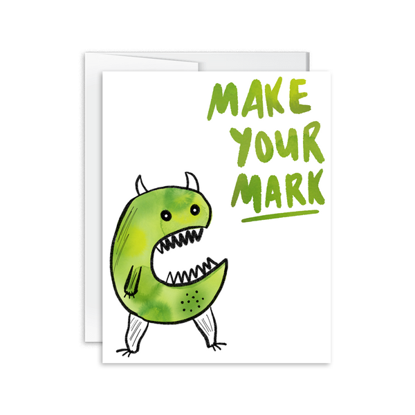 make your mark watercolor monster greeting card