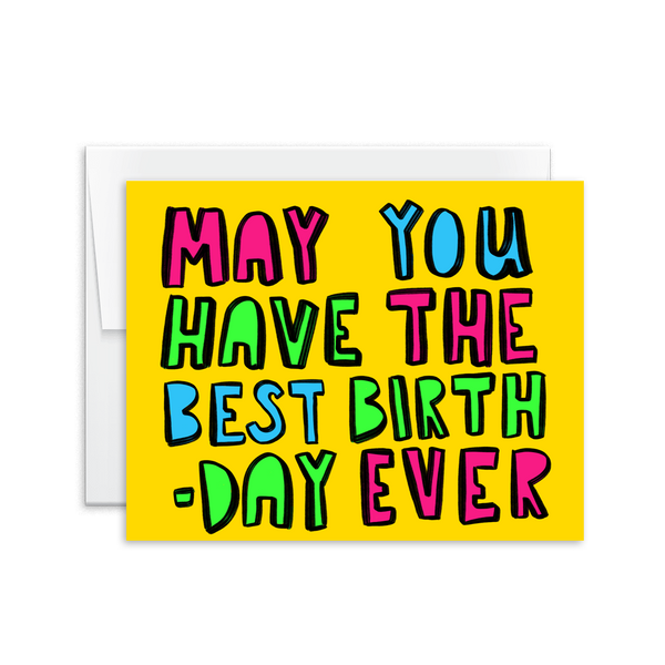 neon happy birthday greeting card
