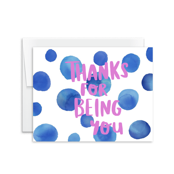 thanks for being you watercolor greeting card