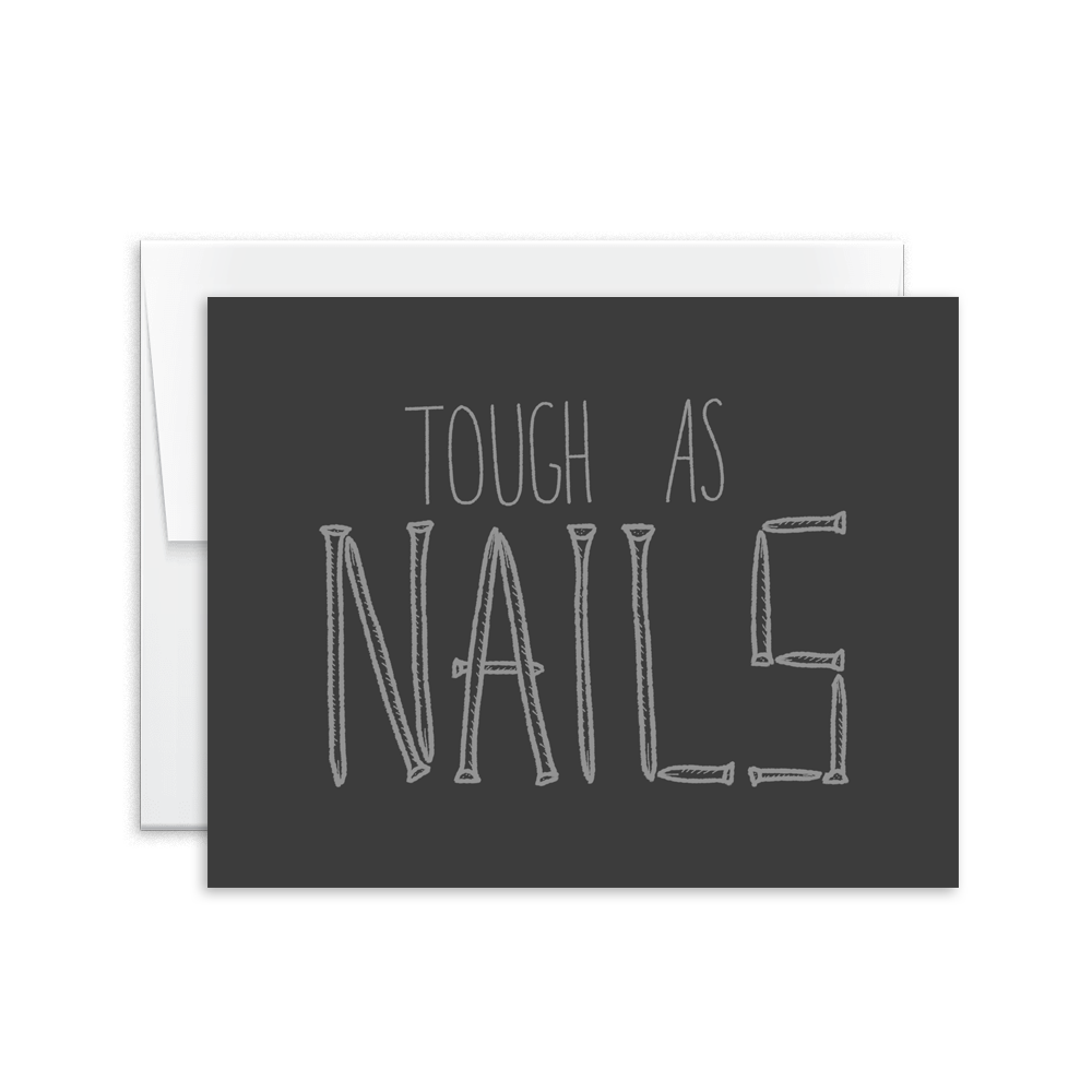 tough as nails hand lettered greeting card
