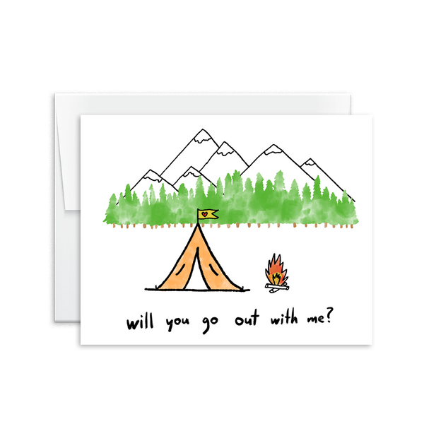 will you go out with me camping card