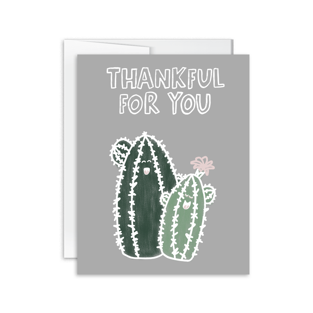 thankful for you cacti greeting card
