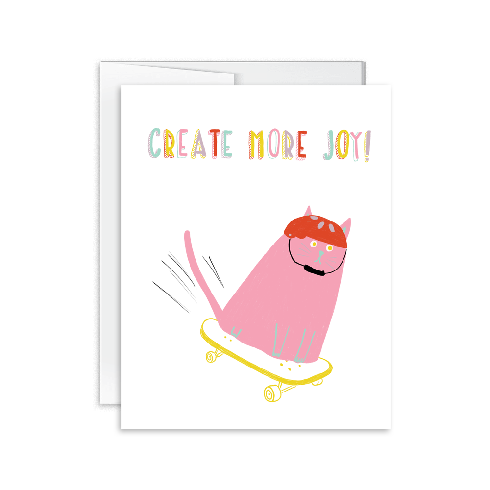 create more joy hand drawn and lettered greeting card