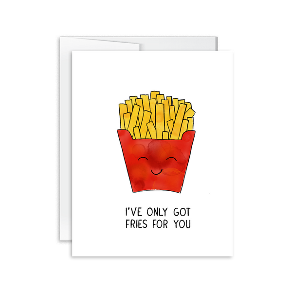 i only have fries for you watercolor greeting love card