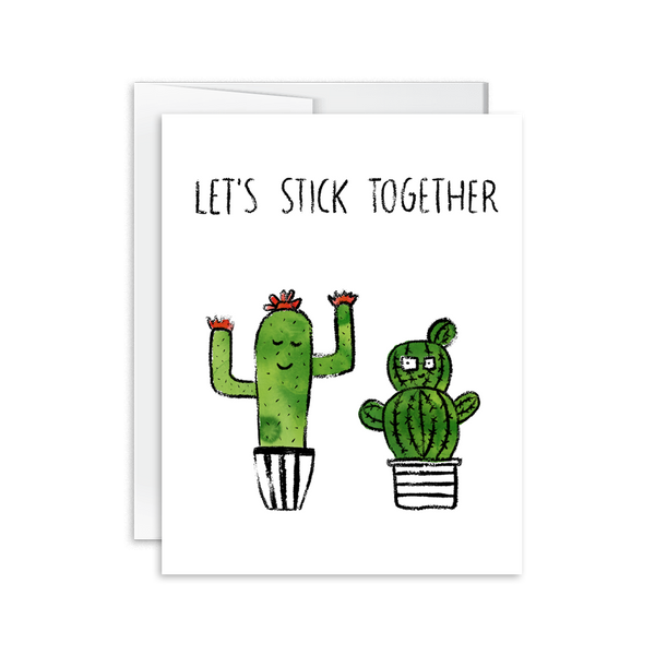 let's stick together watercolor cactus greeting card