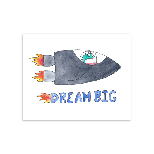 Dream Big Hugo Monster 8x10 Art Print [product type] - Hello Happiness Card Co