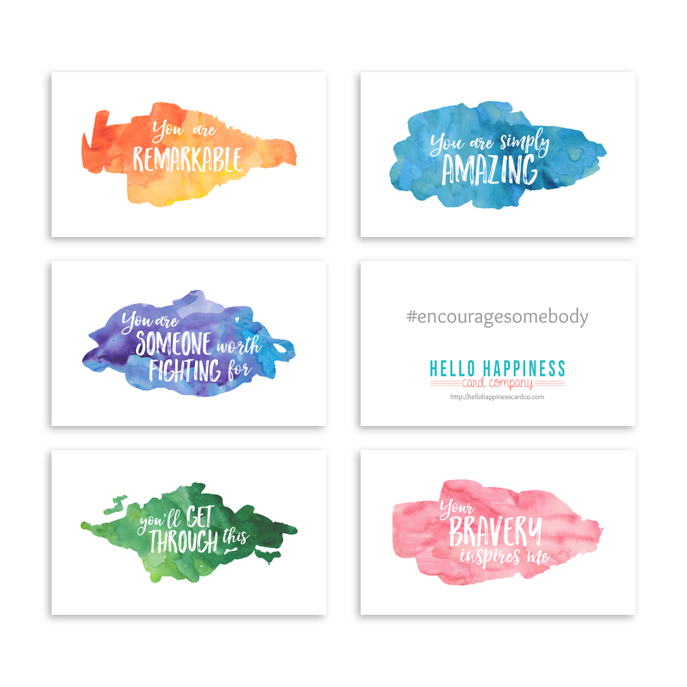 Mini Encouragement Cards - Watercolor II [product type] - Hello Happiness Card Co