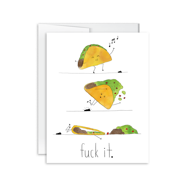hand drawn and painted watercolor taco card fuck it