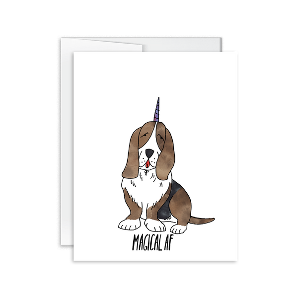 magical af watercolor basset hound greeting card