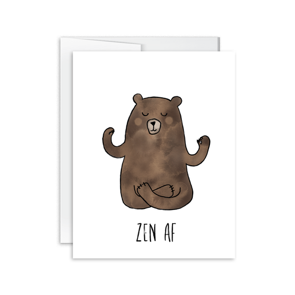 zen af watercolor bear greeting card