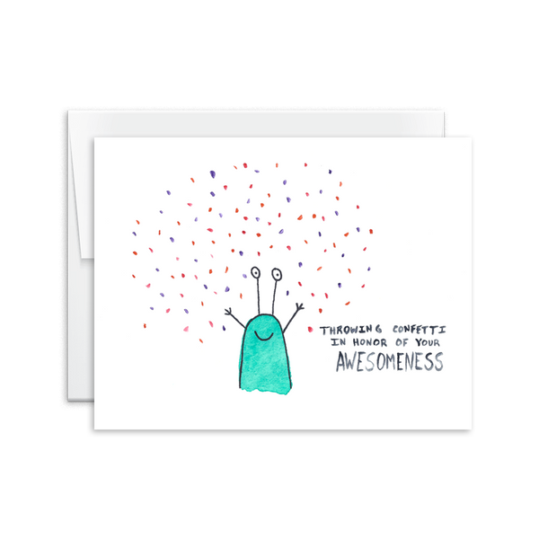 appreciation card throwing confetti in honor of your awesomeness