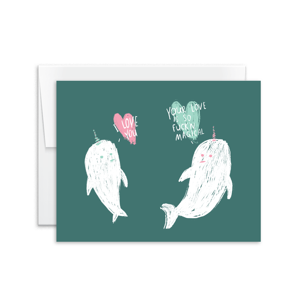 narwahl magical love greeting card