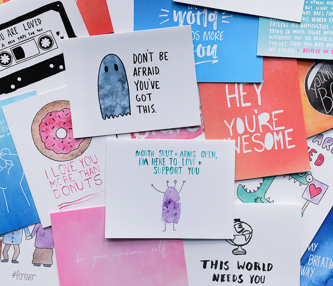 surprise greeting card packs, you never know what fun stuff you'll get