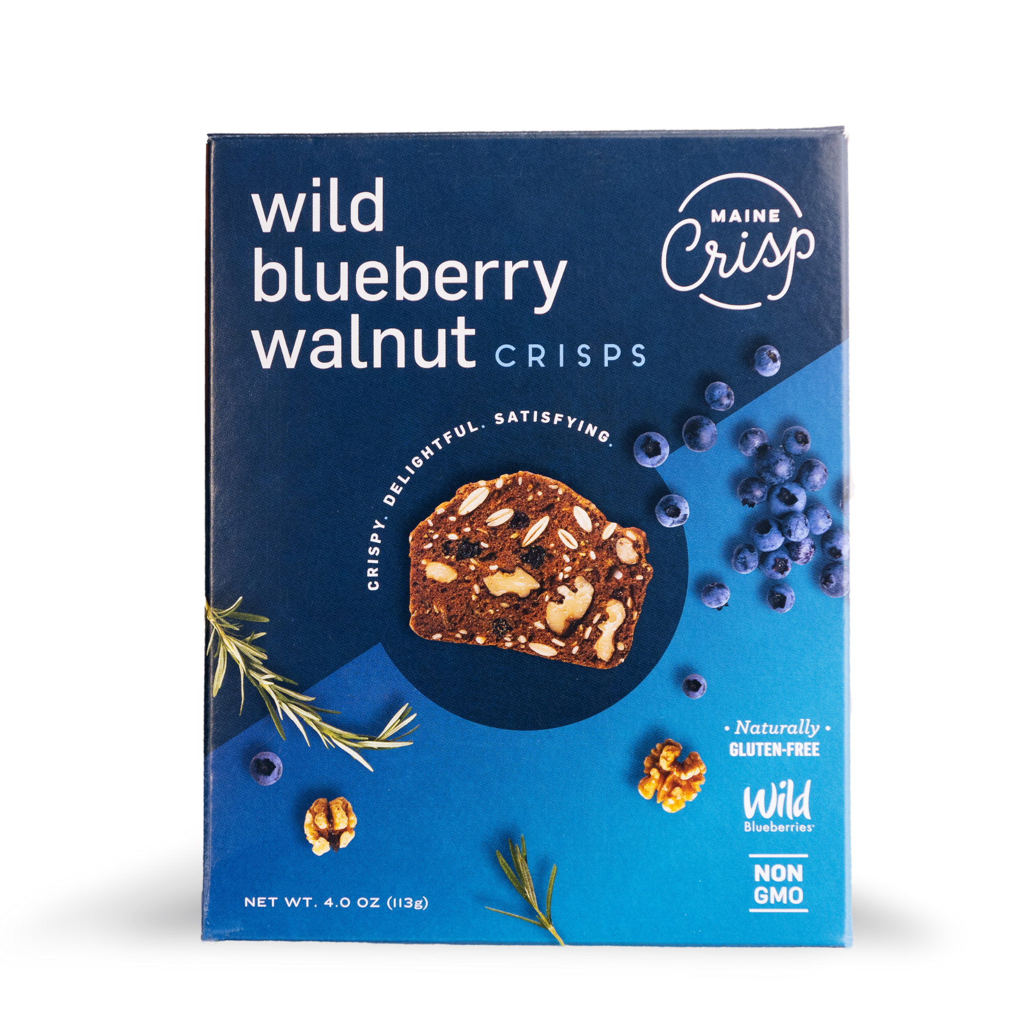 a bright blue box with photographs of wild blueberries, rosemary, and walnuts with a gluten-free crisp in the middle