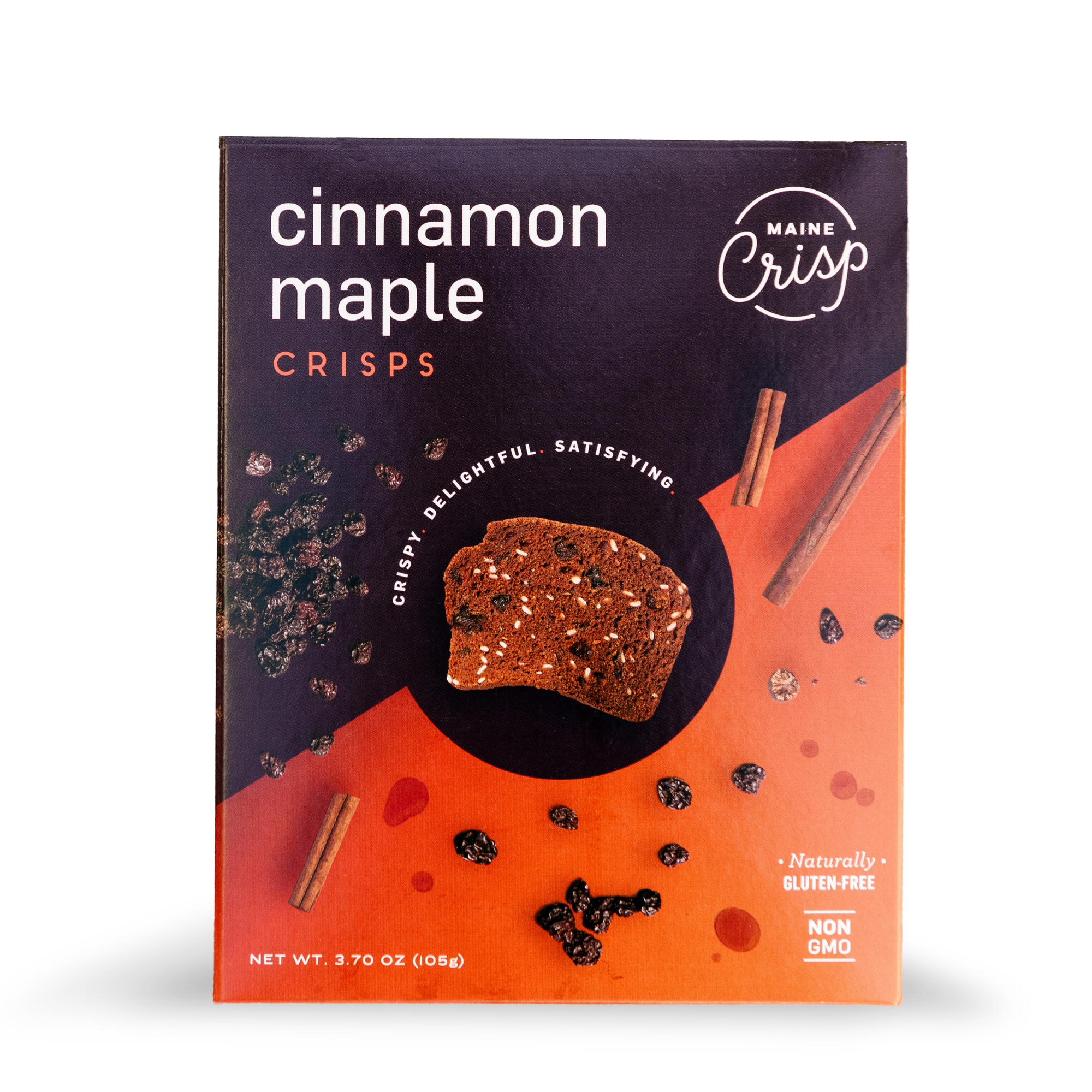 a brown and orange box with photographs of zante currants and cinnamon sticks with a photograph of a gluten-free cinnamon maple crisp in the center