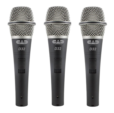 CAD - Audio D32 Supercardioid Dynamic Vocal Microphone with On/Off Switch, Pack of 3