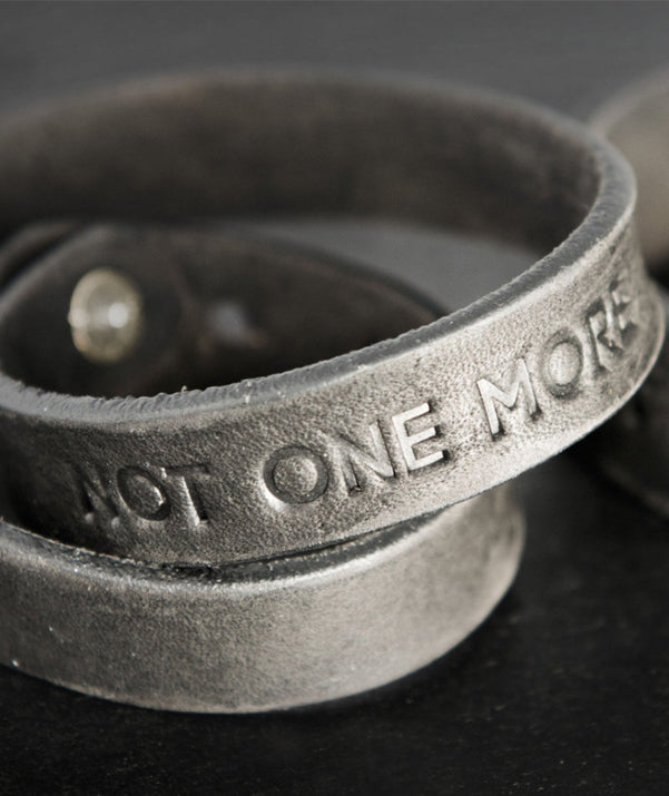 "Donate and get your ""Not One More"" Leather Bracelet"