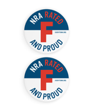 NRA F Rated Button & Sticker Pack