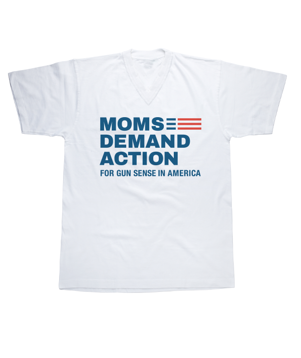 Moms Demand Action White V-Neck Tee