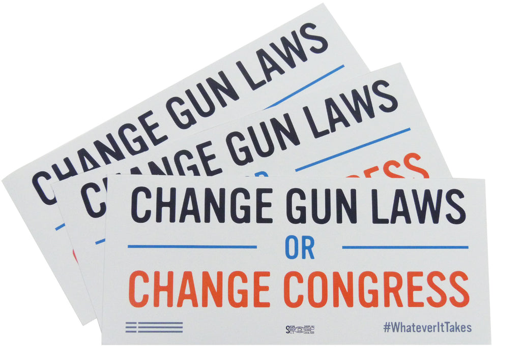 """Change Gun Laws or Change Congress"" Bumper Sticker Three-Pack"