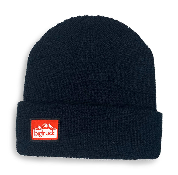Black Knit Beanie Red MTNS