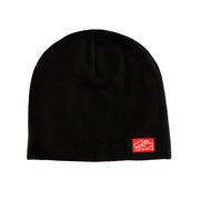 Black Leather Patch Beanie