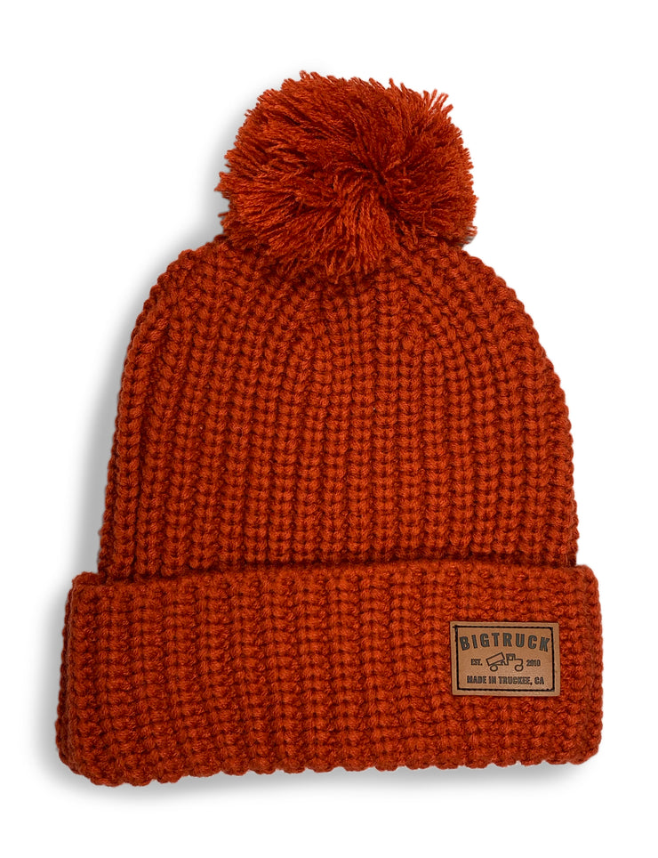 Pom Beanie Burnt Orange Leather